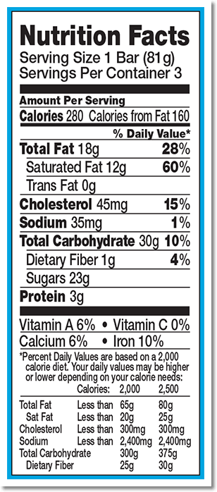Nutrition Facts Label for Chocolate Chip Cookie Dough 3pk